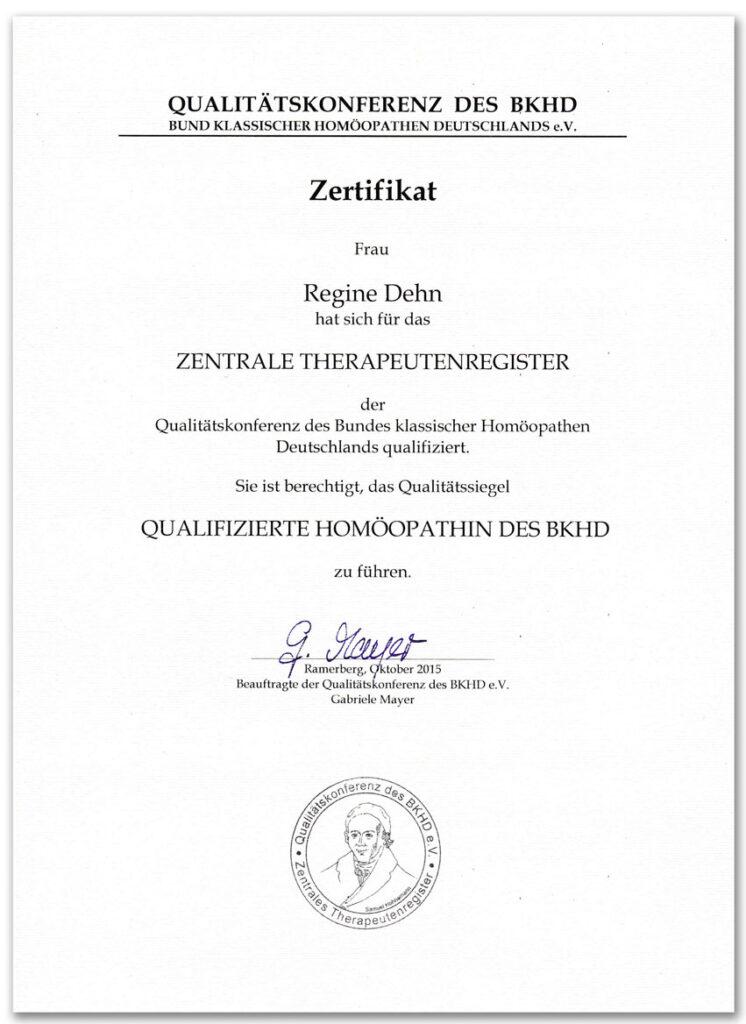 BKHD-Zertifikat Homöopathie-Qualifikationen