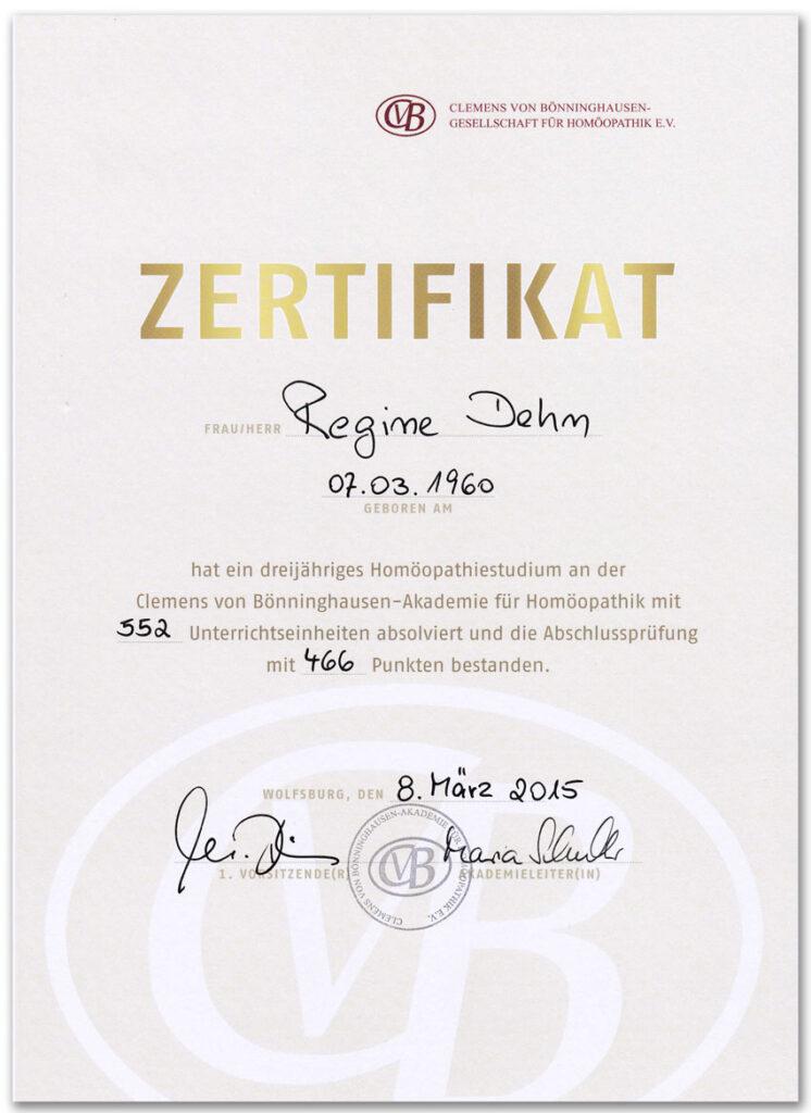 Cvb-Zertifikat Homöopathie-Qualifikationen