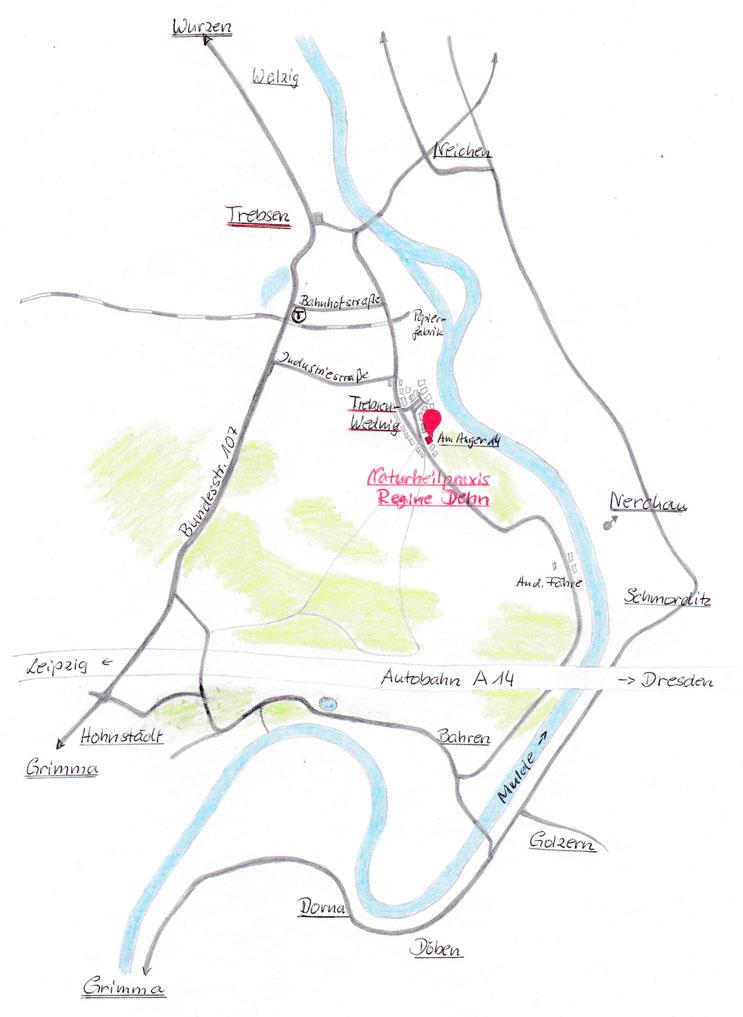 Anfahrtskarte Naturheilpraxis Regine Dehn Kontakt Anfahrt
